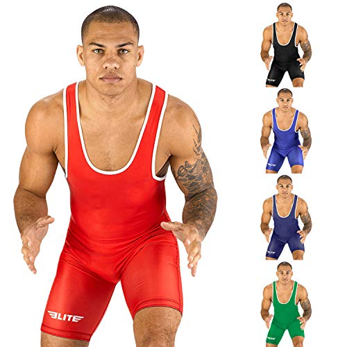 (Elite Sports New Item Standard Wrestling Singlet (Red, 2XL))