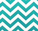 Fabric Shower Curtain - ZIGZAG TRUE TURQUOISE - 72'' Width x (72'', 74'', 78'', 84'', 90'', 96'') Length