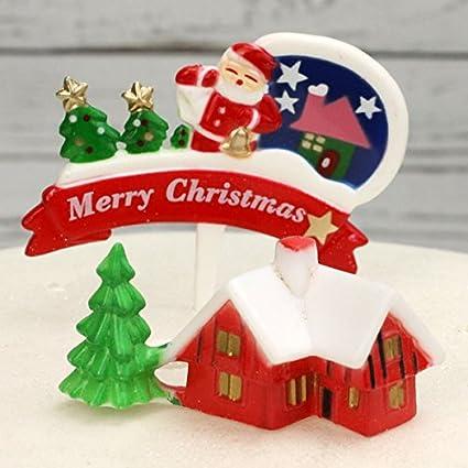 Retro Christmas Chalet And Santa Merry Christmas Pick Cake Topper