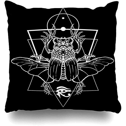 Throw Pillow Cover Square 18x18 Inch Mythology Ancient Scarab Bug File All Hieroglyphics Archeology Beetle Black Culture Egypt God Cushion Home Decor - Pillow Beetle