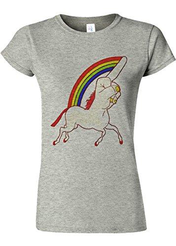 雪だるまを作る郵便屋さん粒子Unicorn Middle Finger Funny Novelty Sports Grey Women T Shirt Top-XXL