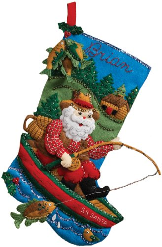 18 Long Stocking Felt Applique Kit: Fishing Santa Bucilla 86139