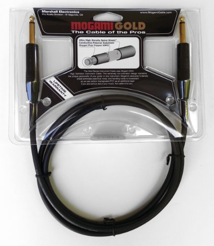 """Mogami GOLD INSTRUMENT-06 Guitar Instrument Cable, 1/4"""" TS Male Plugs, Gold Contacts, Straight Connectors, 6 Foot"""