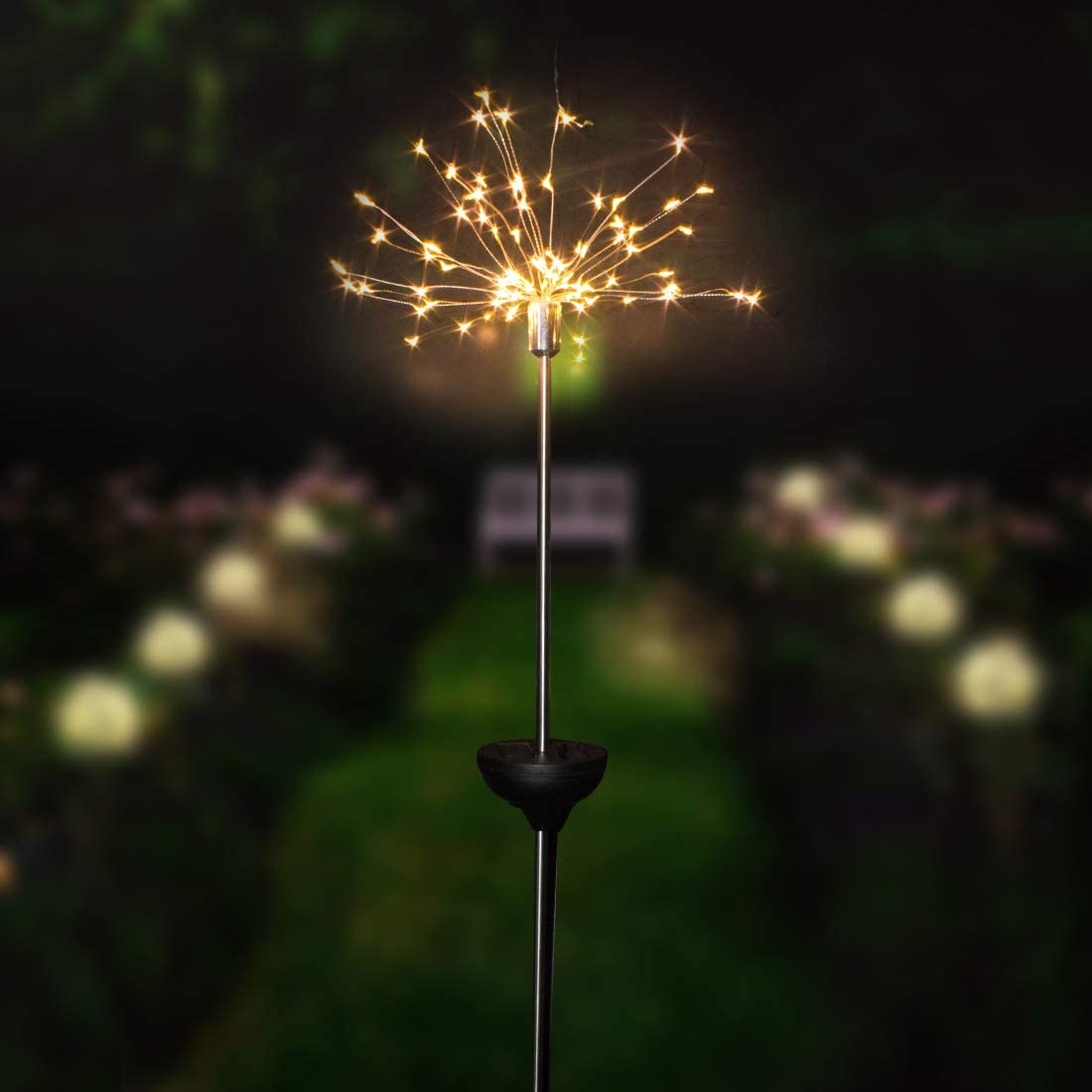 Solar Fireworks Light Outdoor LED String Lights8 Modes Starburst Lights Pathway Patio Lawn Backyard Christmas Party Holiday Wedding Decorative Lights 2 Packs (Warm White)