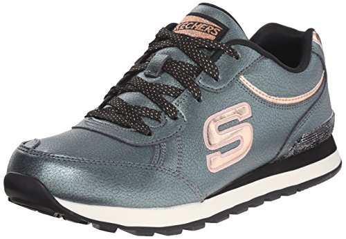 Skechers Originals Women's Retros Pearlized PU Rose Go Fashion Sneaker, Olive Shimmers, 9.5 M US