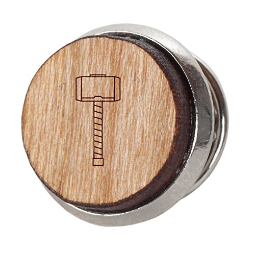 Thors Hammer Stylish Cherry Wood Tie Tack- 12Mm Simple Tie Clip With Laser Engraved Design - Engraved Tie Tack ()