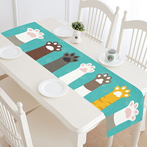InterestPrint Funny Cat Paws Dog Paw Prints Table Runner Lin