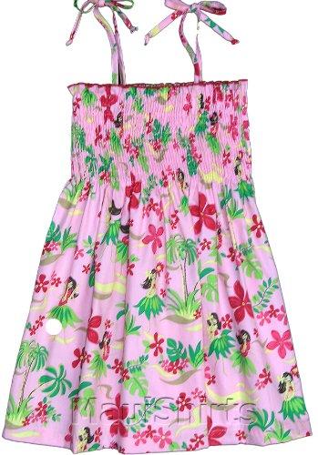 Hawaiian Spaghetti Girl Dress (RJC Girl's Hula Girl Fun Hawaiian Smocked Sundress in Pink - 6X)