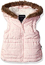 Nautica Big Girls Printed Filled Vest With Sherpa Lined Hood, Pale Pink, 12