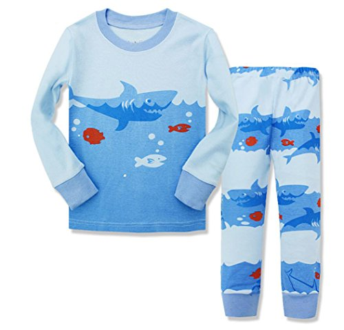Gold treasure little kids sleepwear Long Sleeve Pajama set with cartoon ocean shark-hunting, Blue, 3T