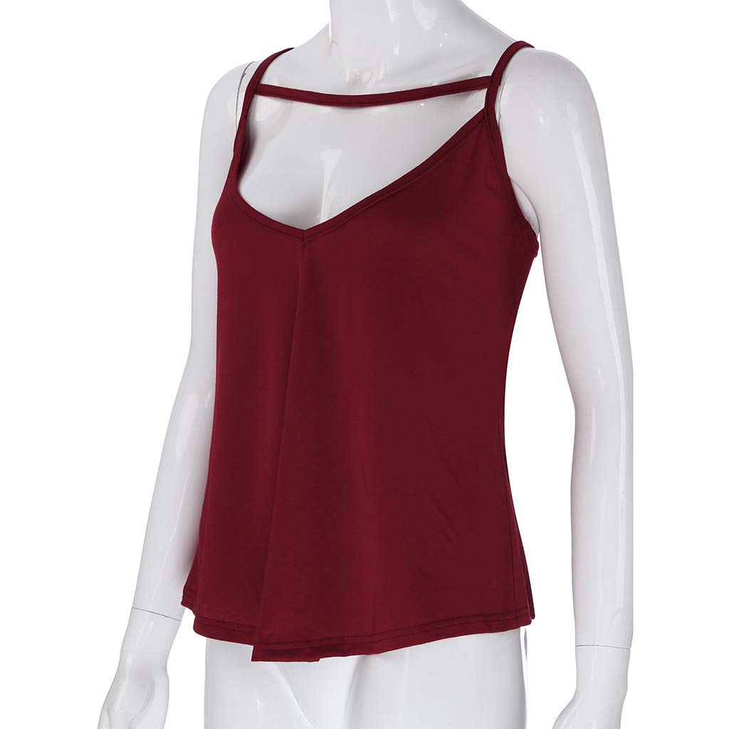 HHei_K Women Sexy Pure Color Leisure Keyhole Vest Summer Casual Cut Out Sleeveless Sling Shirt Blouse O-Neck Tank Top Wine by HHei_K (Image #4)