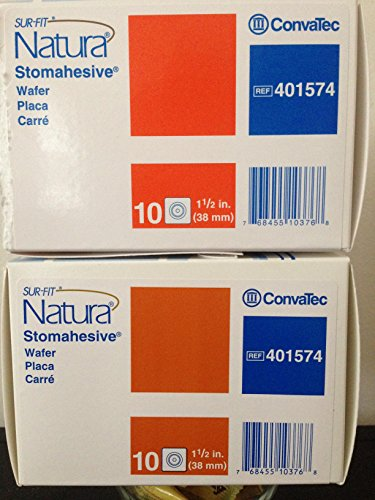"Convatec 401574 Sur-fit Natura Stomahesive Cut-to-fit Wafer Without Tape Collar 4"" L X 4"" W Size Square Shape 10/bx."