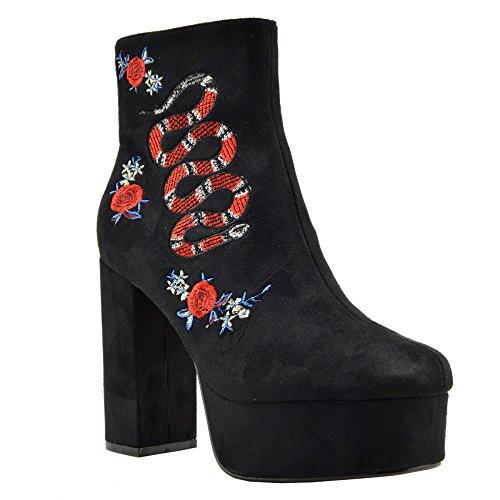 Mujer De Tacón Botines De Estilo De La Moda De La Impresión Floral De Tobillo Zapatos De Plataforma Negro