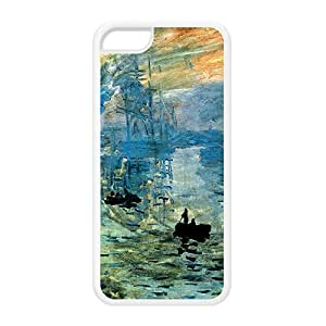Impression soleil levant by Claude Monet White Silicon Rubber Case for iPhone 5C by Painting Masterpieces + FREE Crystal Clear Screen Protector