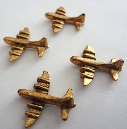 - AIRPLANE Push Pins, Antique Gold T-503AG, set of 15