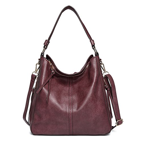 DDDH Vintage Hobo Handbags Shoulder Bags Durable Leather Tote Messenger Bags Bucket Bag For Women/Ladies/Girls(Wine)