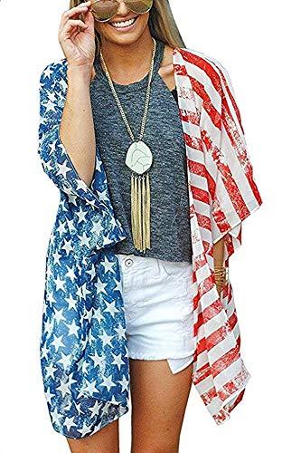 - Casual Kimono for Women Cardigans American Flag Printed Chiffon Loose Cover ups Robe( 2XL, Flag