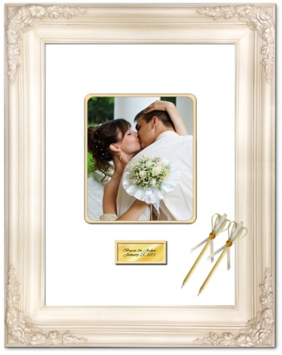 Signature Mat Picture Frame White Inner Gold Matted Retirement Wedding Guest Wishes Autograph 8x10 Round Corner 16x20 Elite White Milan Raised 3D Floral Personalized Gold Engraved Plate