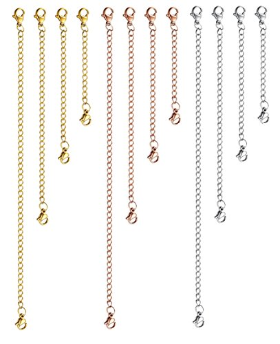 LOYALLOOK 12pcs Stainless Steel Necklace Bracelet Extender Chain Set Jewelry Extenders 3 Colors