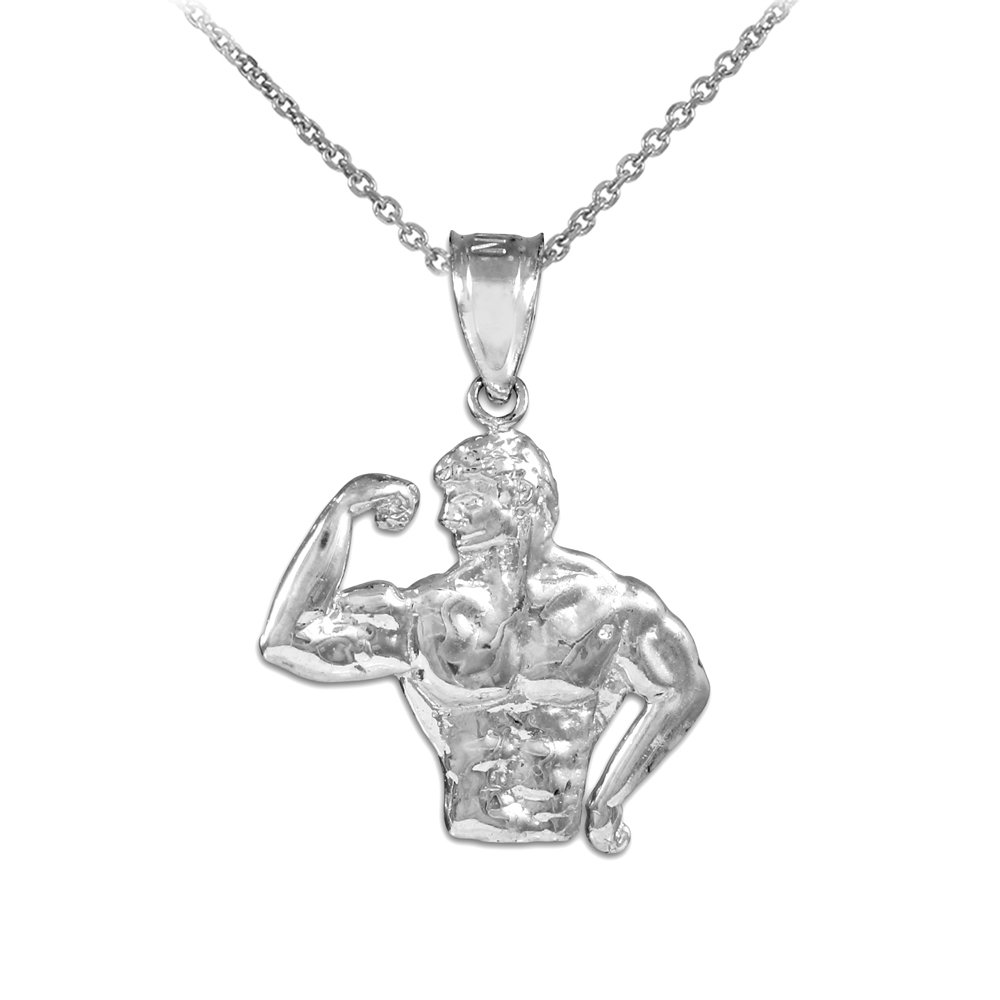 10k White Gold Bodybuilder Sports Pendant Necklace, 22''