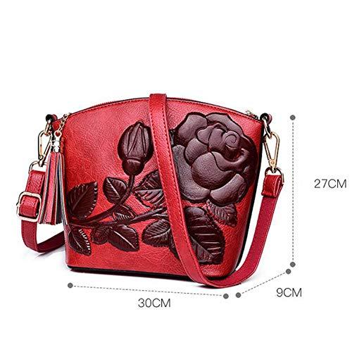 En 27 Moda Hombro De Mujeres 30 Peonía Cuero Las Crossbody Brown Bolso Cm 9 Vintage Estilo La Relieve Rojo Totalizador Estéreo Vendimia U7xBqnzw