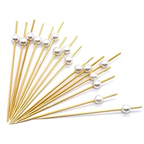 PuTwo Cocktail Toothpicks 300 Counts Cocktail Picks Handmade Natural Bamboo Cocktail Sticks Eco-Friendly Appetizer Skewers for Cocktail Appetizers Fruits Dessert – White Pearls