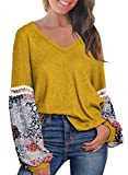 MIHOLL Women Long Sleeve Blouse V Neck Printed Tops Loose Pullover Sweater (XX-Large, Yellow)