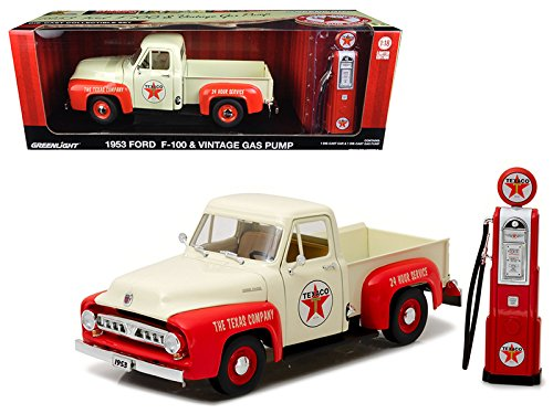 1953 Ford F-100 Pickup Truck Texaco with Vintage Texaco Gas Pump 1/18 Diecast Model Car by GreenLight 12991