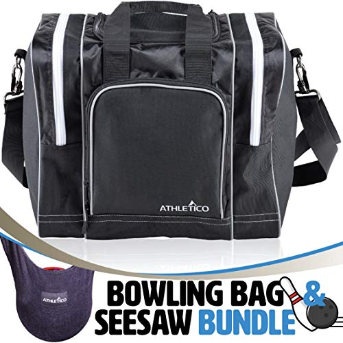 Athletico Bowling Bag & Seesaw Polisher Bundle - Single Ball Tote Bag with Padded Ball Holder - Fits a Single Pair of Bowling Shoes Up to Mens Size 14 (Black)