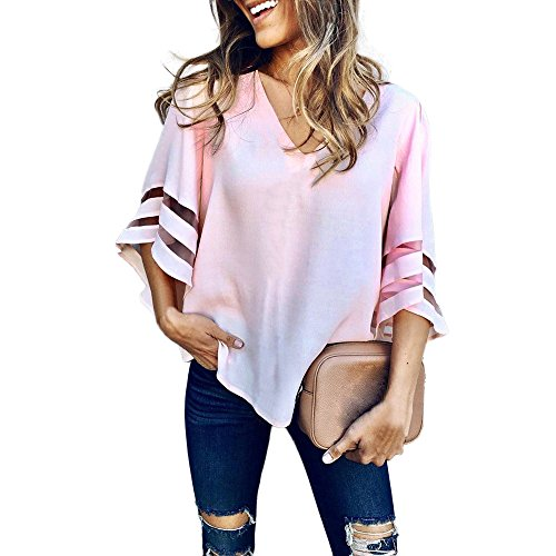 Sheer Tee Short Ringer Sleeve (HGWXX7 Women's Fashion Solid V-Neck Horn Short Sleeve Loose Tops T-Shirt Blouse (L, Pink))