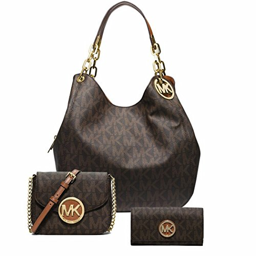 Michael Kors Stylish Waterproof Fulton Large Logo Shoulder Bag Fulton Small Crossbody bag Fulton Carryall Wallet 3Pcs Set