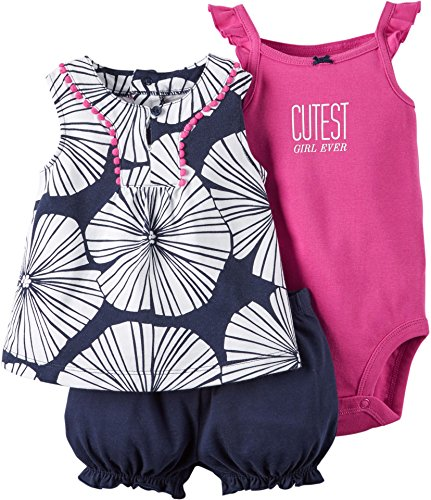 Carter's Baby Girls' 3-Piece Bodysuit & Diaper Cover Set (12 Months, Navy)