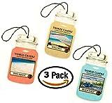Yankee Candle Car Jar -- Summer Beach Trio - Beach Walk, Pink Sands, Sun and Sand - Set of THREE Car Jars