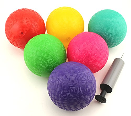 Ifavor123 Multi Color Mini Dodgeball Kickball Hand Pump Playballs - 6 Pack
