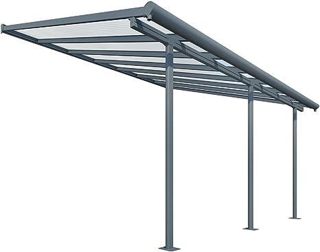 Cubierta para terraza de aluminio de alta calidad Sierra, 299 x 555 cm (profundidad x ancho), de color gris, con sistema de fijación y canalones ...