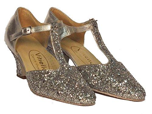 Vitiello Dance Shoes  Standard cristal argento, Damen Tanzschuhe Silber Argento Nappa e cristallo argento