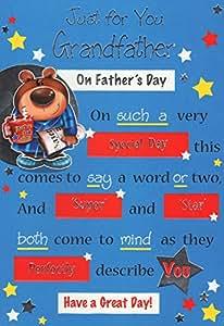 Tarjeta de felicitación para el día del padre–'sólo para ti abuelo en el día del padre'