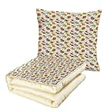 iPrint Quilt Dual-Use Pillow Baby Exotic Giraffe Lion African Zebra Funny Elephant Monkey Crocodile Nursery Cartoon Decorative Multifunctional Air-Conditioning Quilt Multicolor