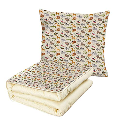 iPrint Quilt Dual-Use Pillow Baby Exotic Giraffe Lion African Zebra Funny Elephant Monkey Crocodile Nursery Cartoon Decorative Multifunctional Air-Conditioning Quilt Multicolor by iPrint
