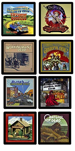 - Grateful Dead Collectible MEGA Coaster Gift Set ~ (8) Different Album Covers Reproduced on Soft Pliable Coasters