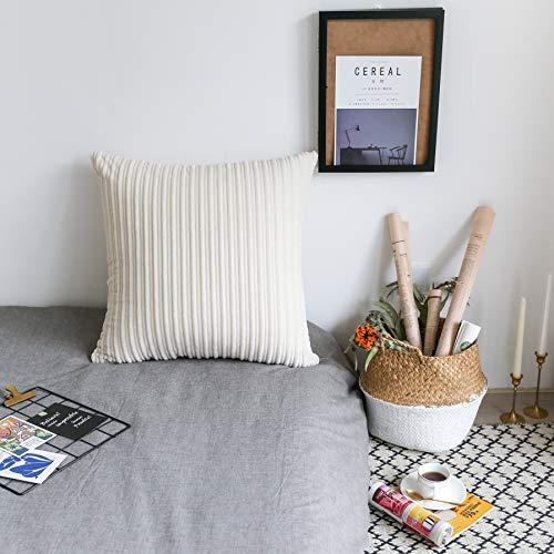UGASA Velvet Soft Soild Decorative Square Throw Pillow Covers Cushion Case for Sofa Bedroom, 1 Pc, 18x18Inch (45x45cm), Cream ()