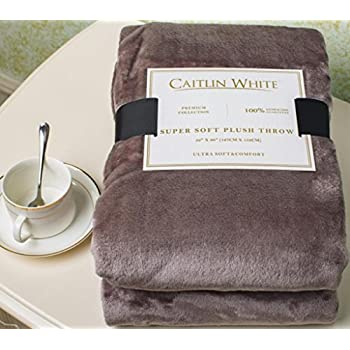 """Caitlin White Throw Blanket for Couch/Sofa/Bed, Luxury Super Soft Microplush Velvet, 50""""x60"""", Grey"""