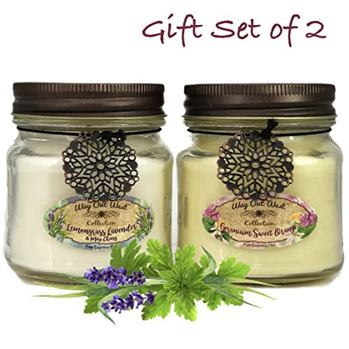 Way Out  West Aromatherapy Essential Oil Candles with Natural Geranium Sweet Orange and Lemongrass Lavender - Happy Pack Set of 2 Candles - Made in America