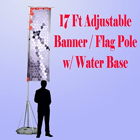 17 ft giant telescopic adjustable flag banner pole stand water filled base aluminum u0026quot portable