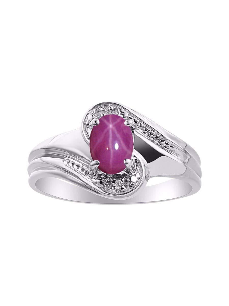RYLOS Simply Elegant Beautiful Red Star Ruby & Diamond Ring - July Birthstone by Rylos (Image #1)