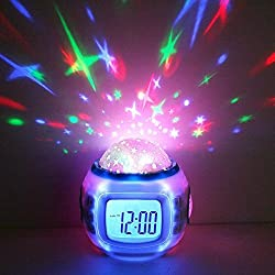 GPCT Starry Sky Projection LED Alarm Clock, Timer, & Music Player. Comes with 10 ringtones, Calender, & Thermometer. Displays Time in 12hr and 24hr time modes - White
