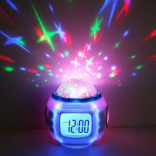 GPCT Starry Sky Projection LED Alarm Clock, Timer, & Music Player. Comes with 10 ringtones, Calender, & Thermometer. Displays Time in 12hr and 24hr time modes - White (Fun Alarm Clock)