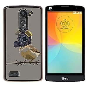 YiPhone /// Prima de resorte delgada de la cubierta del caso de Shell Armor - Pájaro en máscara de gas - LG L Prime D337 / L Bello D337