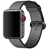 Woven Nylon Replacement Band for the Apple Watch by Pantheon, Women's or Men's, Strap fits the 38mm or 42mm for Apple iWatch 1, 2, 3 and Nike edition (38mm, Woven, Black and White)