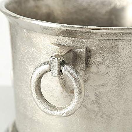 CasaJame Hogar Decoración Accesorios Vino Bar Cubitera con Doble Mangos Motivo Ancla Aluminio Estilo Clásico Elegante 23x36x31cm